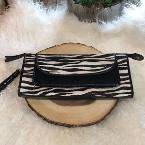 Handbags - Zebra Print Fur Clutch